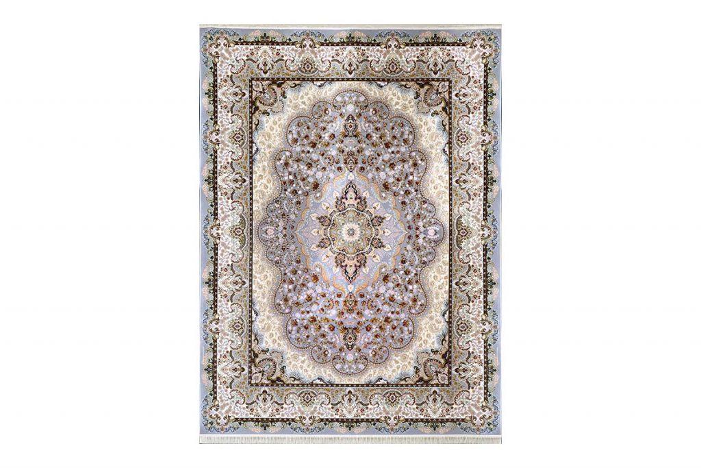 فرش گل برجسته طرح شاهانه رنگ الماسی