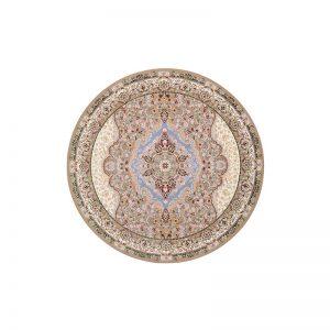 فرش گل برجسته شاهانه گرد رنگ بژ
