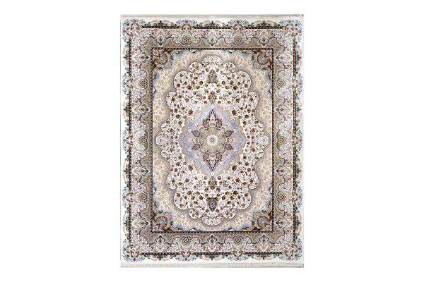 فرش گل برجسته طرح شاهانه رنگ کرمی