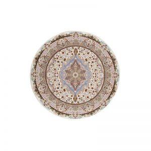 فرش گل برجسته شاهانه گرد رنگ کرم