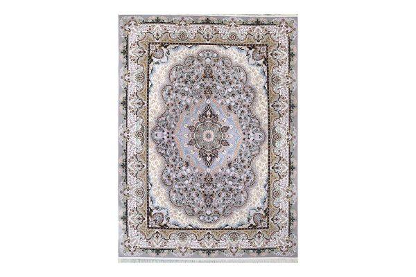 فرش گل برجسته طرح شاهانه رنگ فیلی