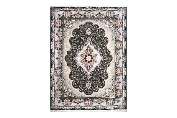 فرش گل برجسته طرح شاهانه رنگ ذغالی