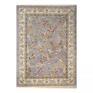 فرش گل برجسته طرح شکارگاه رنگ الماسی