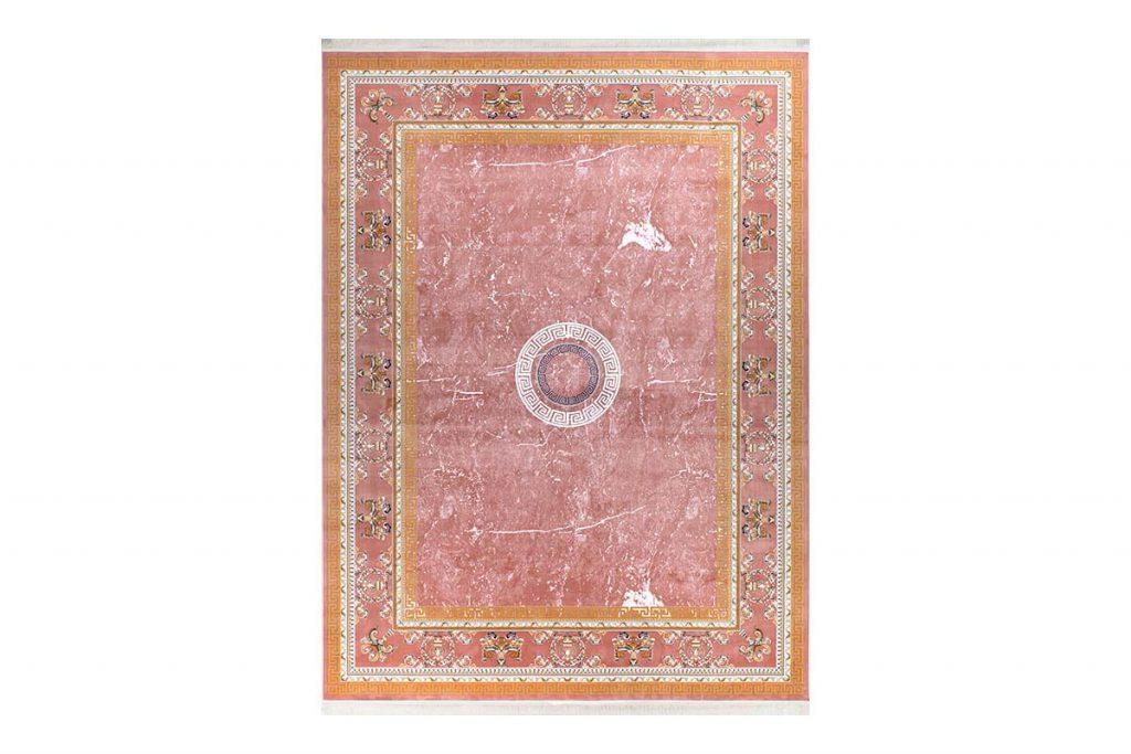فرش گل برجسته 1500 شانه طرح ورساچه رنگ گلبهی