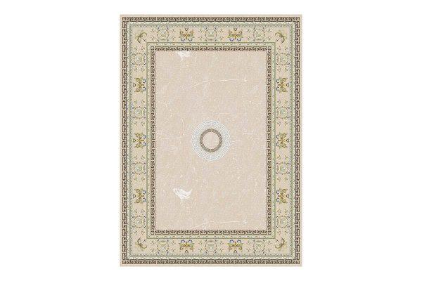 فرش گل برجسته 1500 شانه طرح ورساچه رنگ بژ