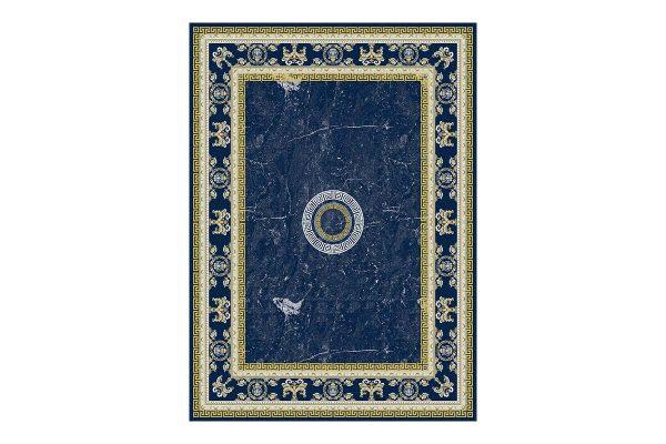 فرش گل برجسته 1500 شانه طرح ورساچه رنگ سرمه ای