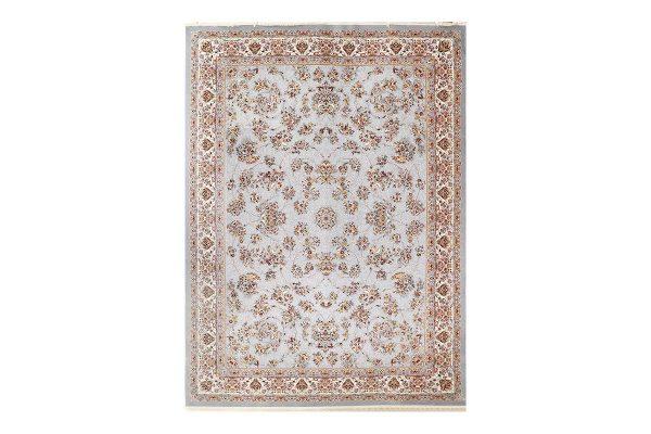 فرش گل برجسته طرح زنبق رنگ الماسی