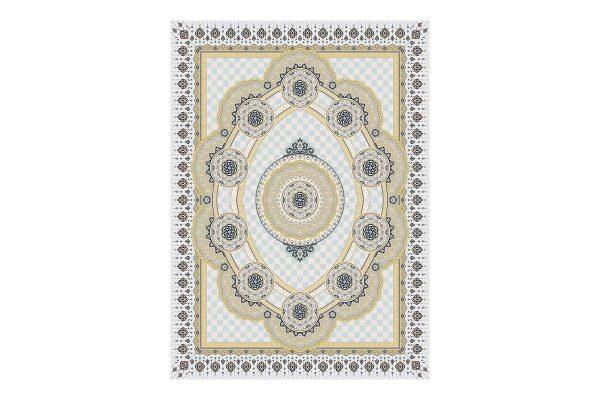 فرش گل برجسته 1500 شانه طرح زرنگار رنگ الماسی
