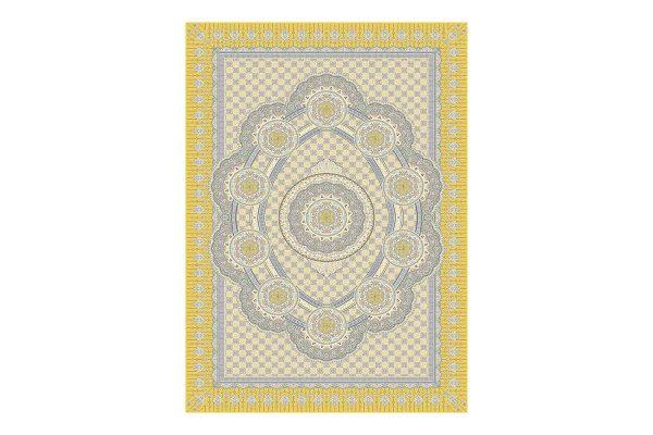 فرش گل برجسته 1500 شانه طرح زرنگار رنگ زرد